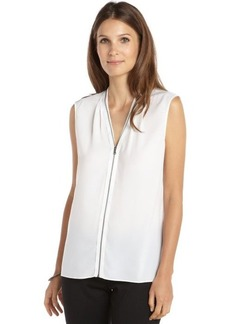 Tahari white woven zip front sleeveless 'Tessa' blouse