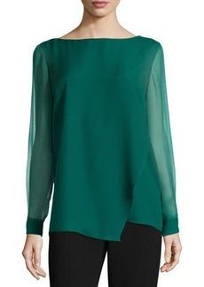 Tahari Whitney Long-Sleeve Asymmetric Blouse