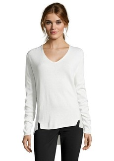 Tahari winter white v-neck 'Arianna' mixed media sweater