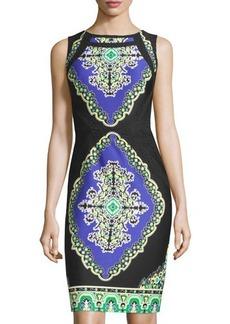 Tahari Zerli Lace-Trim Sleeveless Scuba Dress
