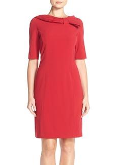 TahariBow Neck Bi-Stretch Sheath Dress (Regular & Petite)