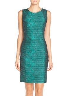 TahariEmbellished Jacquard Sheath Dress (Regular & Petite)