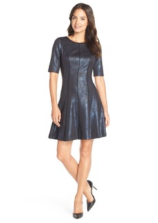 Tahari Foiled Scuba Fit & Flare Dress
