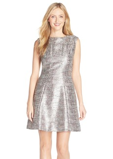 Tahari Metallic Jacquard Fit & Flare Dress (Regular & Petite)