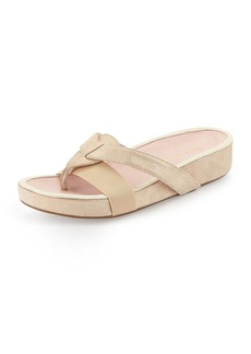 Taryn Rose Austen Metallic Thong Sandal, Beige/Gold