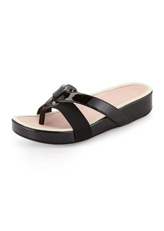 Taryn Rose Austen Patent Thong Sandal, Black