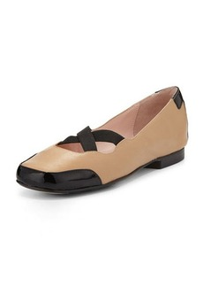 Taryn Rose Bethany Two-Tone Leather Flat