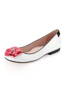 Taryn Rose Britten Flower Ballerina Flat, White/Flash Pink
