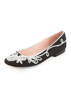 Taryn Rose Bubka Embroidered Ballerina Flat, Black