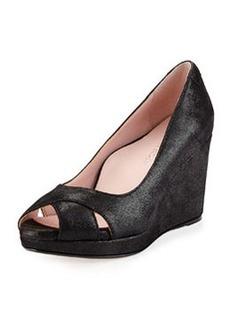Taryn Rose Caylee Peep-Toe Platform Wedge Pump, Black