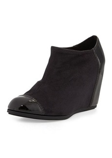Taryn Rose Daphne Suede/Patent Wedge Bootie, Black