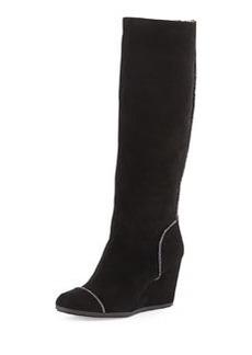 Taryn Rose Darius Suede Wedge Knee Boot, Black