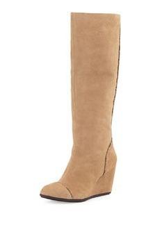 Taryn Rose Darius Suede Wedge Knee Boot, Camel