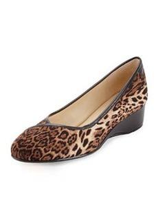 Taryn Rose Felicity Animal Print Stretch Low-Heel Wedge, Dark Brown