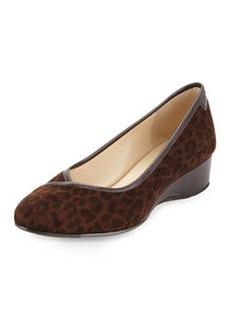 Taryn Rose Felicity Leopard Print Suede Low-Heel Wedge, Dark Brown