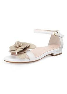 Taryn Rose Istanbul Leather Rosette Sandal, White
