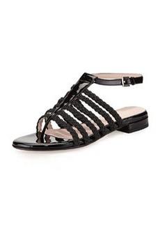 Taryn Rose Italie Stretch Braided Ankle-Strap Sandal, Black