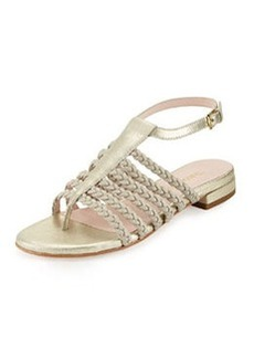 Taryn Rose Italie Stretch Braided Ankle-Strap Sandal, Soft Gold