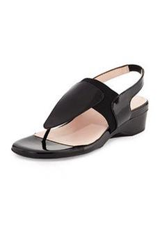 Taryn Rose Kaden Patent Demi-Wedge Sandal, Black