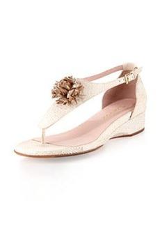 Taryn Rose Kandi Wedge Thong Sandal, White/Gold