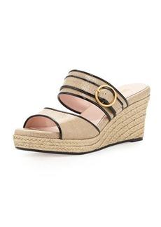 Taryn Rose Kati Wedge Slide Sandal, Beige/Black
