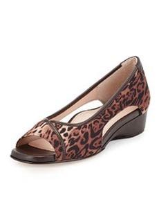 Taryn Rose Katy Leopard-Print Peep-Toe Stretch Wedge