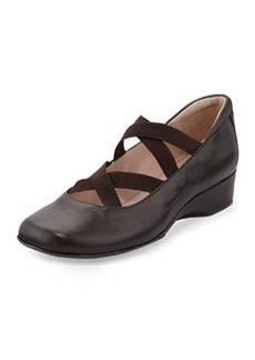 Taryn Rose Keva Elastic-Strap Ballerina Wedge, Chocolate