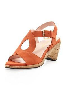 Taryn Rose Marianna Suede Wedge Sandal, Orange