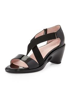 Taryn Rose Maura Crisscross Stretch Patent Wedge Sandal, Black
