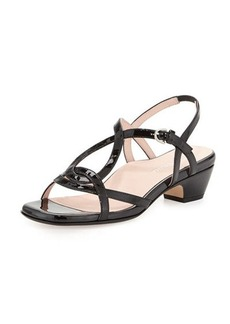 Taryn Rose Odele Strappy Patent Sandal, Black