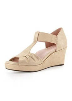 Taryn Rose Sarin Bow T-Strap Wedge Sandal, Beige/Gold
