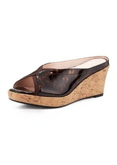 Taryn Rose Selinda Crisscross Patent Leather Wedge Mule, Tortoise