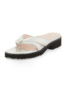 Taryn Rose Tacy Metallic Thong Sandal, Silver