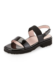 Taryn Rose Tamie Patent Double-Strap Sandal, Black