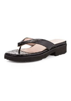 Taryn Rose Tara Serpent Patent Leather Sandal, Black
