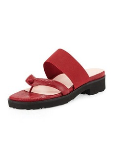Taryn Rose Tomm Stretch Slip-On Leather Sandal, Valentine Red