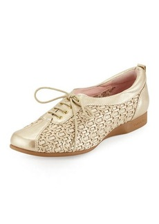Taryn Rose Trudee Woven Lace-Up Sneaker, Soft Gold