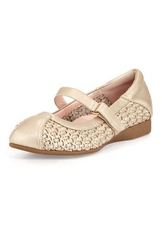 Taryn Rose True-Woven Leather Mary Jane, Soft Gold