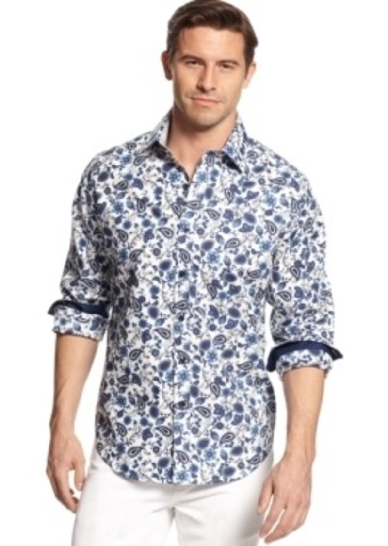 Tasso elba tasso elba big and tall ornate shirt casual for Big and tall casual shirts