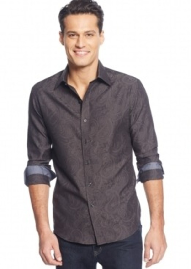 Tasso Elba Tasso Elba Big And Tall Paisley Jacquard Shirt