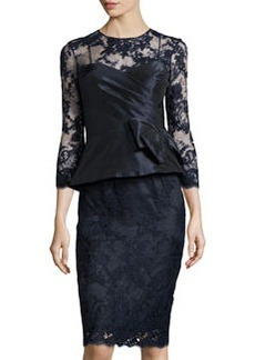 Teri Jon 3/4-Sleeve Lace Cocktail Dress, Navy