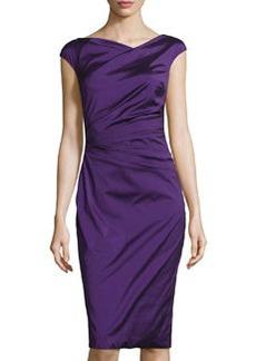 Teri Jon Asymmetric-Neck Pleated Cocktail Dress, Purple