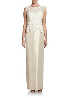 Teri Jon by Rickie Freeman Beaded-Lace Gown