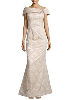 Teri Jon Beaded Lace Off-the-Shoulder Gown, Champagne
