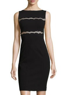 Teri Jon Beaded Mesh-Detail Cocktail Sheath Dress, Black