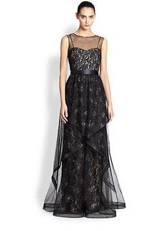 Teri Jon Beaded Overlay Lace Gown