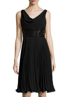 Teri Jon Beaded Pleated Sleeveless Cocktail Dress, Black