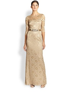 Teri Jon Belted Lace Gown