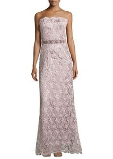 Teri Jon Belted Lace Strapless Gown, Mauve