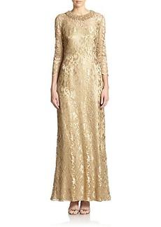 Teri Jon by Rickie Freeman Bead-Neck Lace Gown